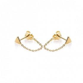 Karma minimalistische oorbellen chain triangle 925 sterling zilver (goldplated) (per paar)