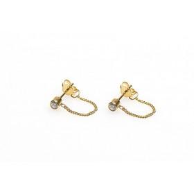 Karma minimalistische oorbellen chain zirconia 925 sterling zilver (goldplated) (per paar)