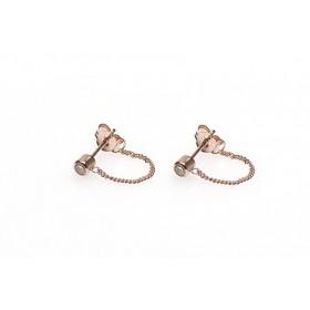 Karma minimalistische oorbellen chain zirconia 925 sterling zilver (roseplated) (per paar)