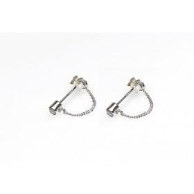 Karma minimalistische oorbellen chain zirconia 925 sterling zilver (per paar)