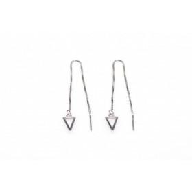 Karma minimalistische oorbellen pull through open triangle 925 sterling zilver (per paar)