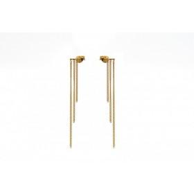 Karma minimalistische oorbellen triple chain 925 sterling zilver (goldplated) (per paar)
