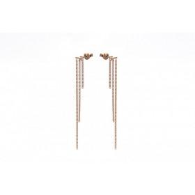 Karma minimalistische oorbellen triple chain 925 sterling zilver (roseplated) (per paar)