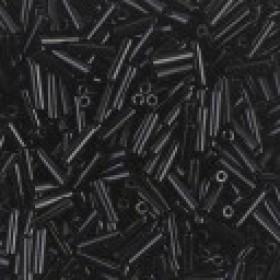 Miyuki bugles 6x17mm opaque black (circa 70 stuks)