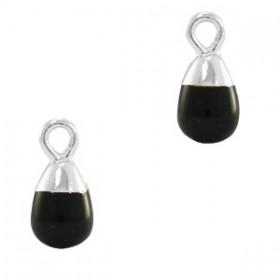 Natuursteen bedel / hanger druppel 13x6mm black zilver