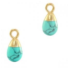 Natuursteen bedel / hanger druppel 13x6mm marble turquoise goud