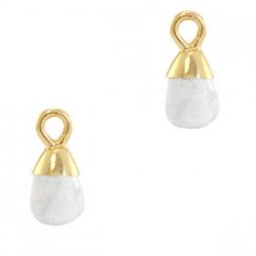 Natuursteen bedel / hanger druppel 13x6mm marble white goud