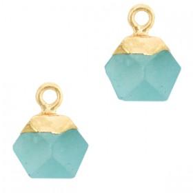 Natuursteen bedel / hanger hexagon 12x11mm turquoise blue goud