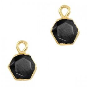 Natuursteen bedel / hanger hexagon 12x9mm black goud