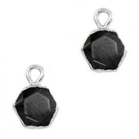 Natuursteen bedel / hanger hexagon 12x9mm black zilver
