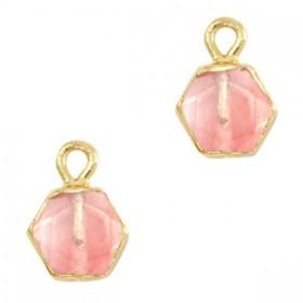 Natuursteen bedel / hanger hexagon 12x9mm blossom pink goud