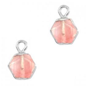 Natuursteen bedel / hanger hexagon 12x9mm blossom pink zilver