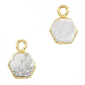 Natuursteen bedel / hanger hexagon 12x9mm marble white goud