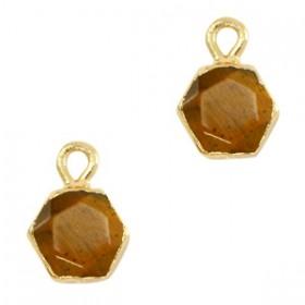 Natuursteen bedel / hanger hexagon 12x9mm topaz brown goud