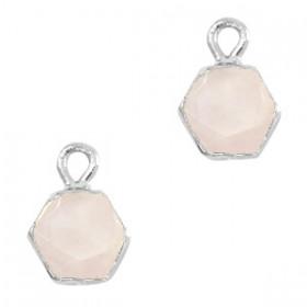 Natuursteen bedel / hanger hexagon 12x9mm white rose zilver