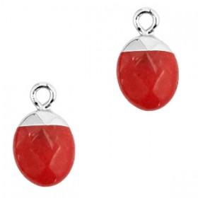 Natuursteen bedel / hanger ovaal 14x8mm crimson red zilver
