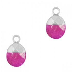 Natuursteen bedel / hanger ovaal 14x8mm dark fruit dove pink zilver