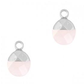 Natuursteen bedel / hanger ovaal 14x8mm icy pink zilver
