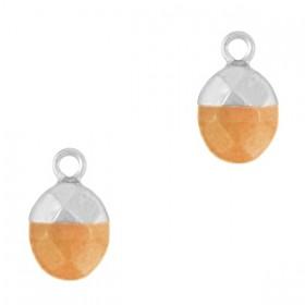 Natuursteen bedel / hanger ovaal 14x8mm rusty orange zilver