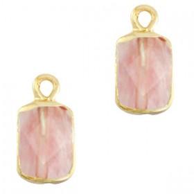 Natuursteen bedel / hanger rechthoek 16x8mm blossom pink goud