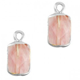 Natuursteen bedel / hanger rechthoek 16x8mm blossom pink zilver