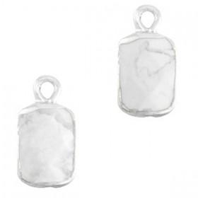 Natuursteen bedel / hanger rechthoek 16x8mm marble white zilver
