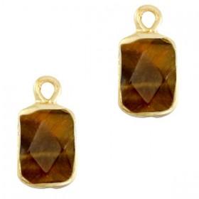 Natuursteen bedel / hanger rechthoek 16x8mm topaz brown goud