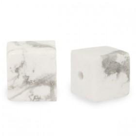 Natuursteen cube kralen vierkant 4mm marble white