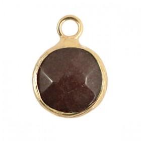Natuursteen hanger 10mm Dark brown grey gold
