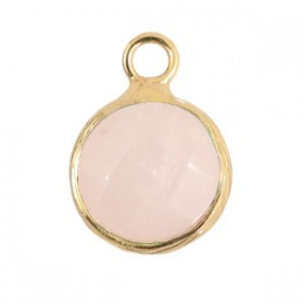 Natuursteen hanger 10mm icy pink gold