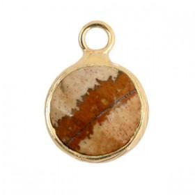 Natuursteen hanger 10mm light brown gold