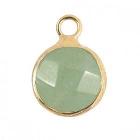 Natuursteen hanger 10mm light green gold