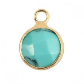 Natuursteen hanger 10mm turquoise gold