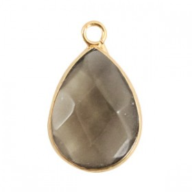 Natuursteen hanger drop black diamond gold