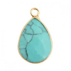 Natuursteen hanger drop turquoise gold