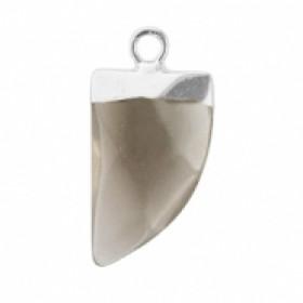 Natuursteen hanger hoektand black diamond zilver