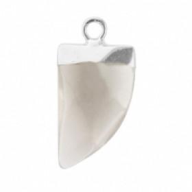 Natuursteen hanger hoektand fossil grey zilver