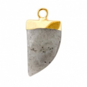 Natuursteen hanger hoektand neutral grey goud