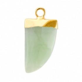 Natuursteen hanger hoektand ocean green goud