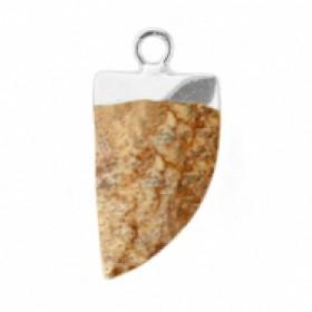 Natuursteen hanger hoektand porcini brown zilver