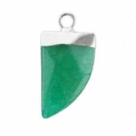 Natuursteen hanger hoektand quetzal green zilver