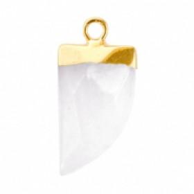 Natuursteen hanger hoektand storm grey goud