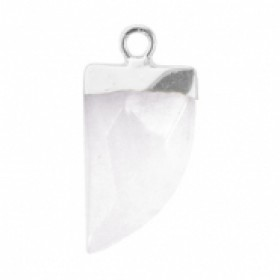 Natuursteen hanger hoektand storm grey zilver