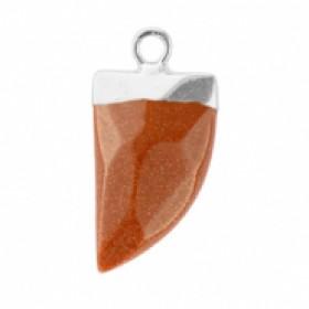 Natuursteen hanger hoektand sugar almond brown glitter zilver