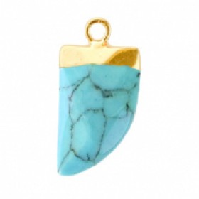 Natuursteen hanger hoektand turquoise green goud