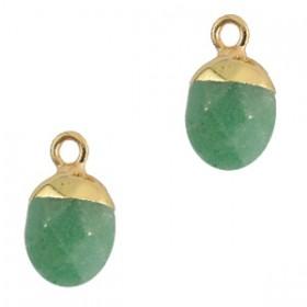Natuursteen hanger light green gold