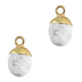 Natuursteen hanger marble white gold