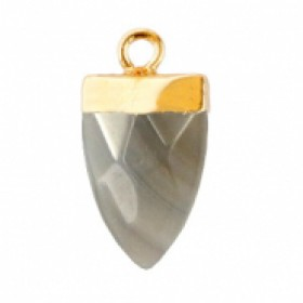 Natuursteen hanger tand fossil grey goud