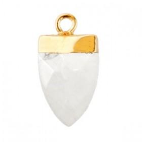 Natuursteen hanger tand marble white goud