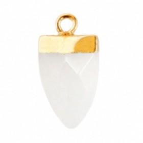 Natuursteen hanger tand storm grey goud